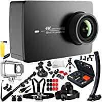 YI 4K+/60fps Action Camera with Waterproof Case 16PC Accessory Kit