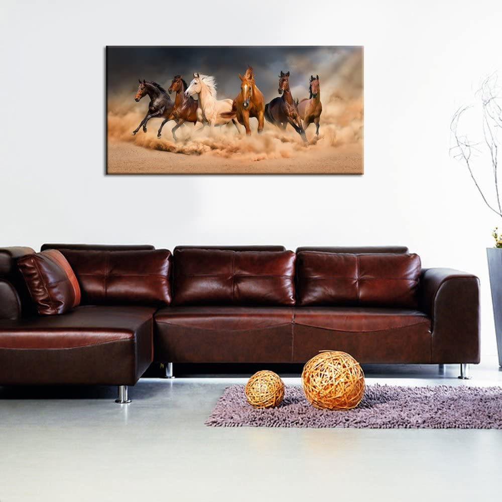 Large Size Running Horse Canvas Wall Art,Wild Animal Picture Print on Canvas,Framed Gallery Wrapped,Modern Home and Office Decoration,-24 Live Art Decor