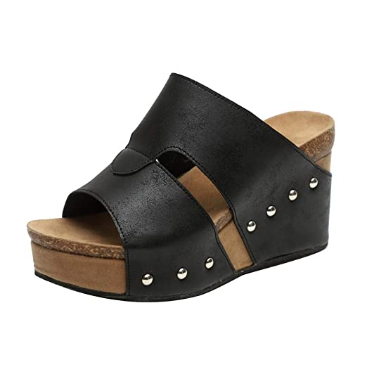 8913645a5985b Amazon.com: Nevera Women's Summer Chic Peep Toe Wedges Slide ...