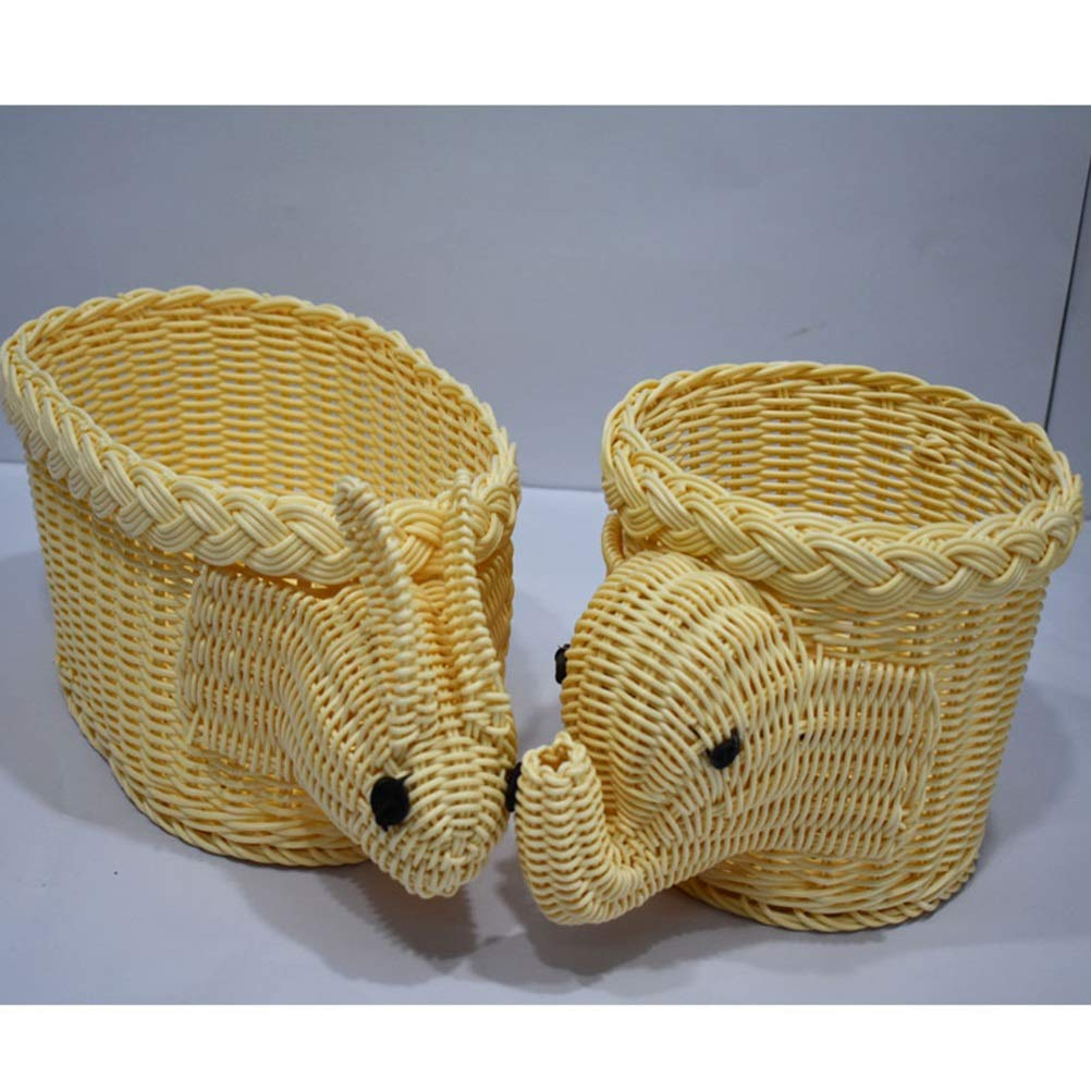 SGKJJ Fruit Basket Animal Fruit Plate Elephant Bun Fruit Dish Craft Fruit Tray Rattan Comport color : Beige, Shape : Elephant