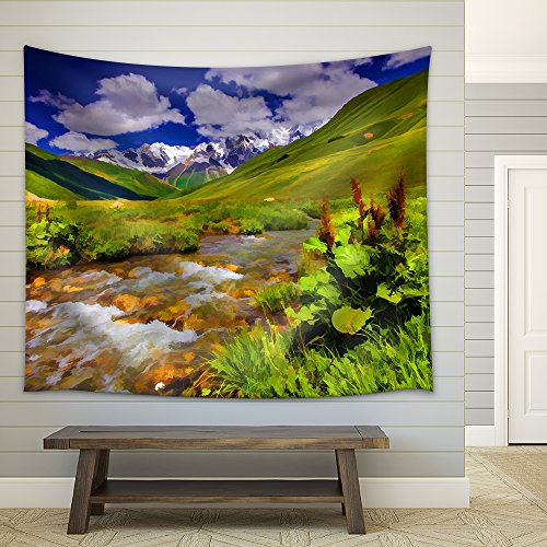 Digital Artwork in Watercolor Painting Style Fantastic Landscape with a River in The Mountains Fabric Wall