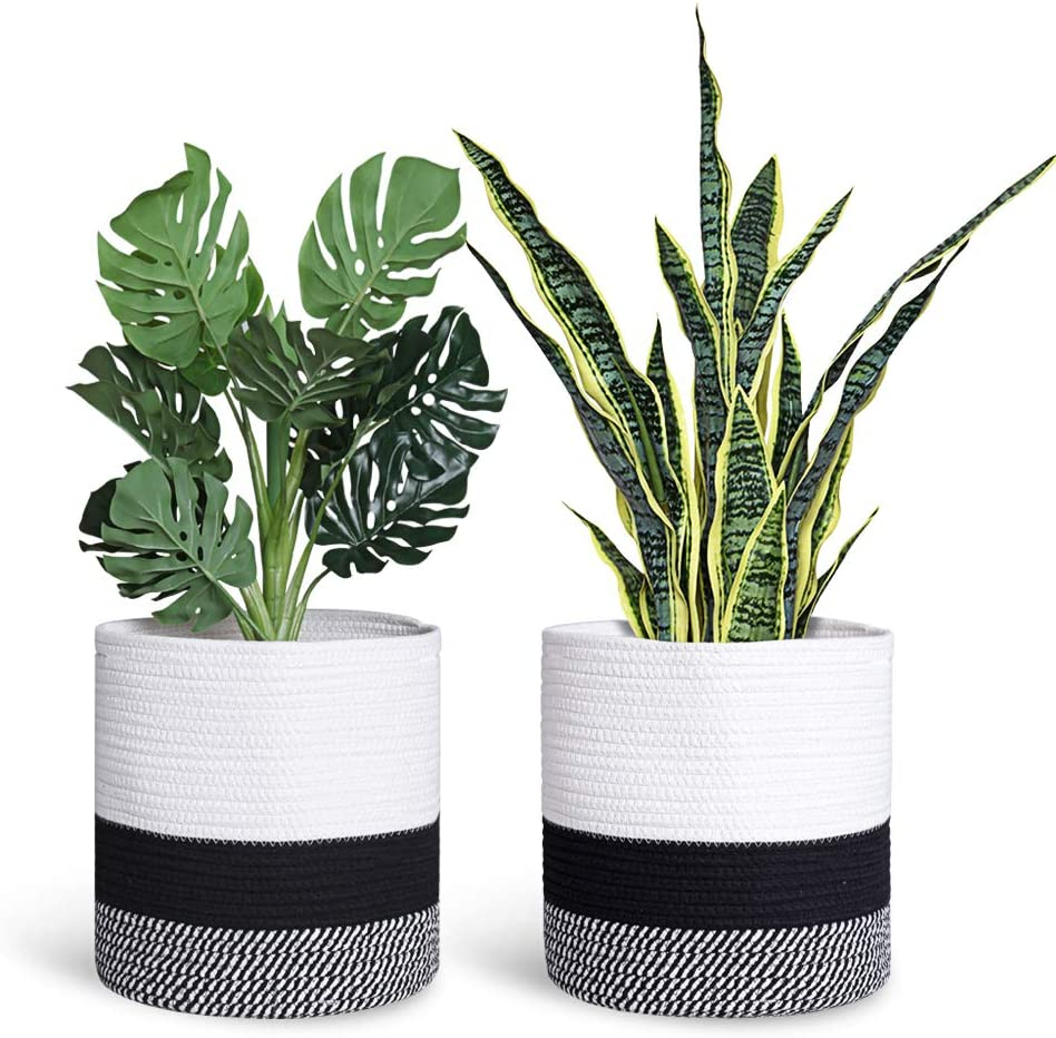 Smoofy 2 PCS Woven Cotton Rope Plant Basket for 10 Inch Flower Pot Floor Indoor Planters, Storage Organizer Rustic Home Decor, White and Black Mix Stripes, 11 Inch x 11 Inch(No Plant)