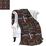 WilliamsDecor Coffee Blanket Colorful Typography Collection Vertical Horizontal Words Caffeine Aroma Espresso Digital
