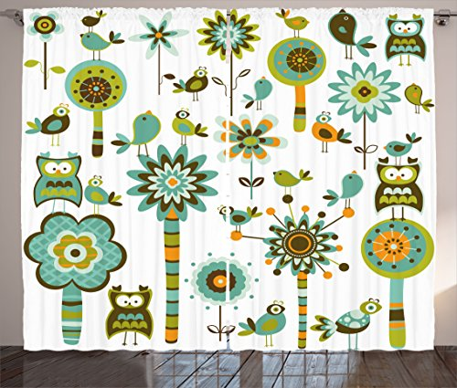 "Ambesonne Modern Curtains, Graphic Cartoon Style Shaped Image Birds Florals Trees Geometrical Artwork Print, Living Room Bedroom Window Drapes 2 Panel Set, 108"" X 84"", Seafoam"
