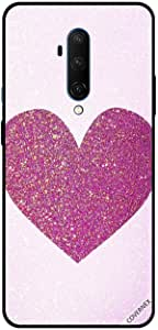 For OnePlus 7T Pro Case Cover Dark Pink Glitter Heart
