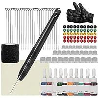 Tattoo Kit Hand Poke Stick Tattoo Pen Ink Cups Stainless Steel 1 3 5 7 9RL Needles Black,Wenxiu Handmade Pen