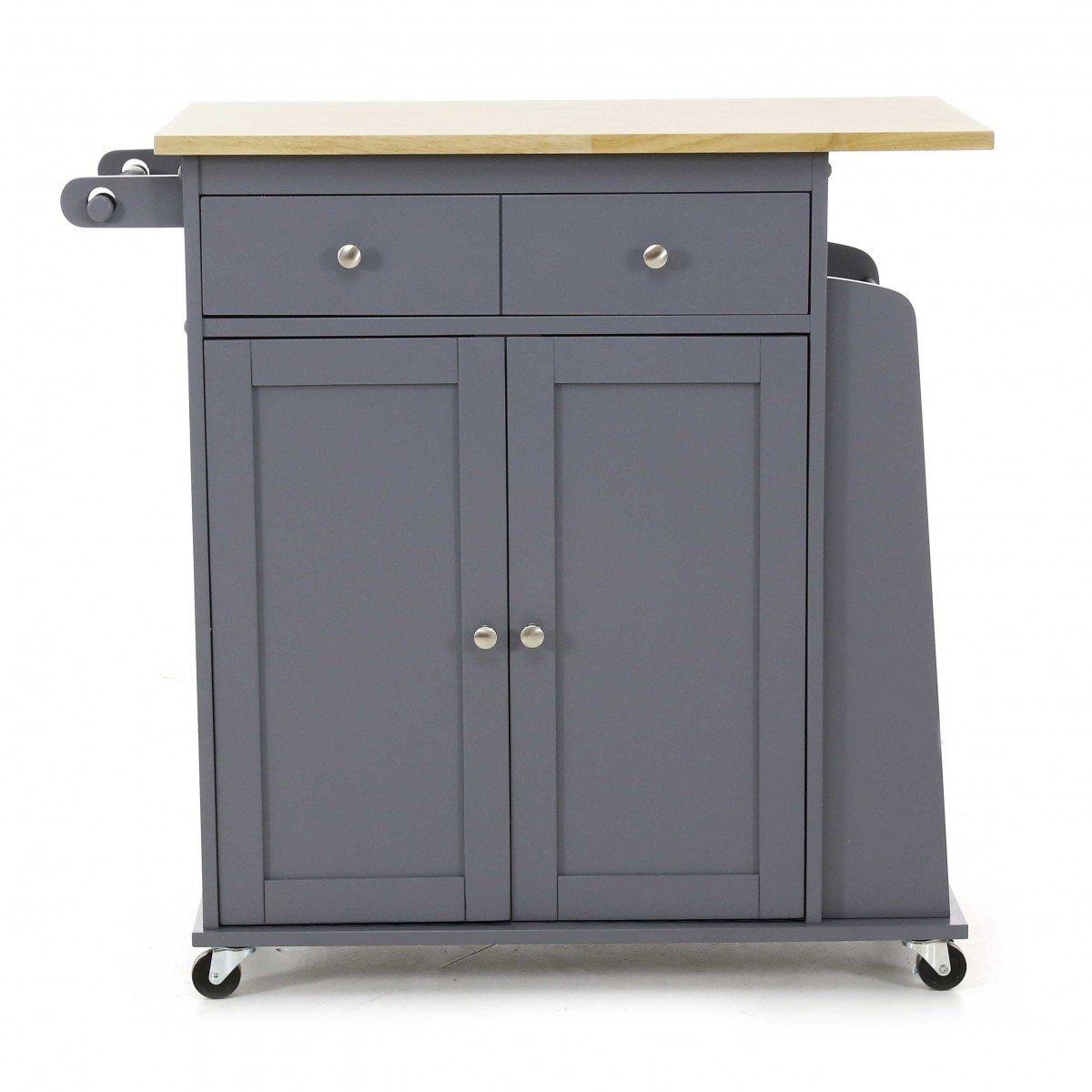Servierwagen mit Rollen, 2 Türen, Grau-Kitchen Küche, auf Rollen, 2 ...