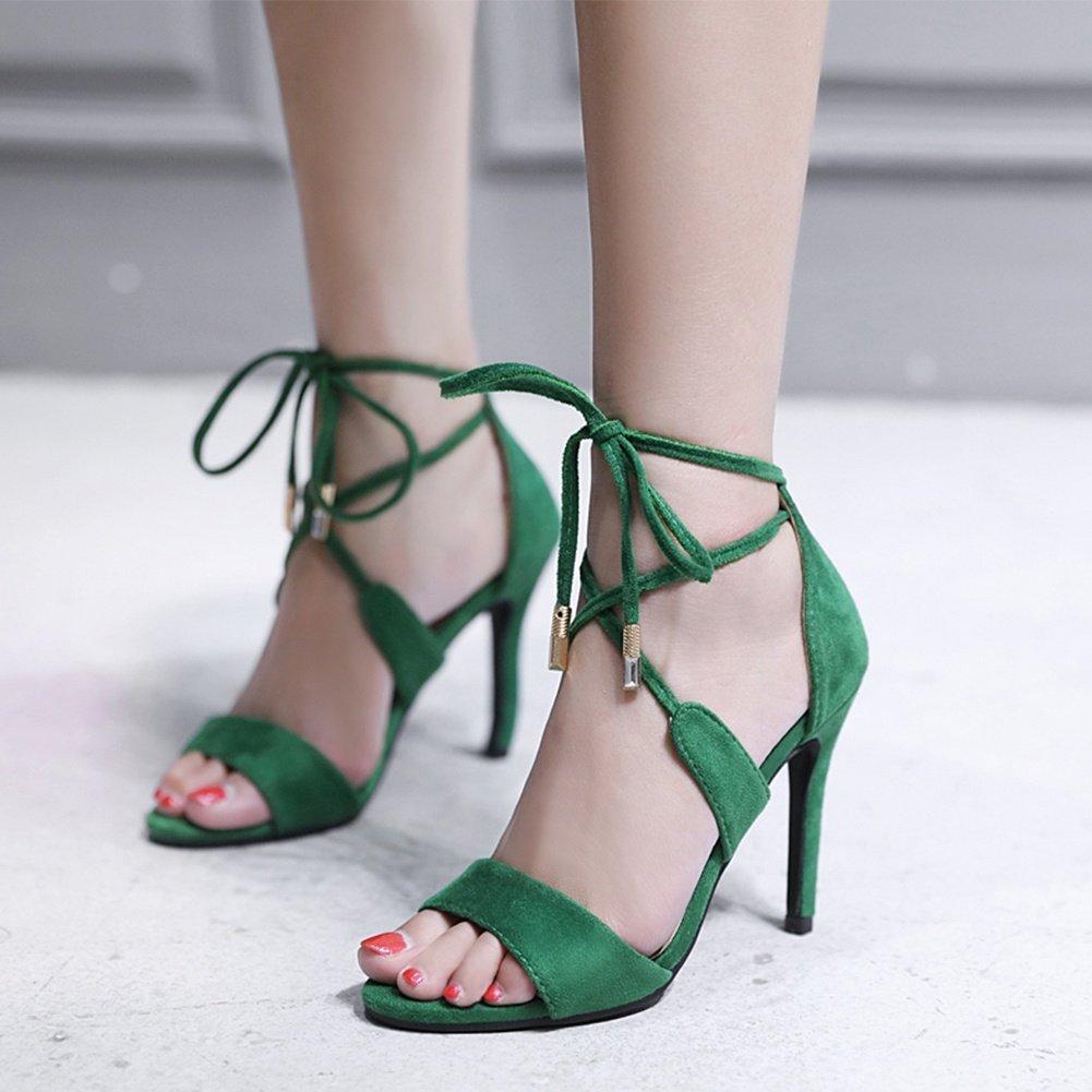 SASA Mode Frauen High High Frauen Heel Sandaletten Sommer Neue Fisch Mund Kreuzgurte Stiletto Solid Farbe High Heels, EU37/UK4.5-5 - bd03f0