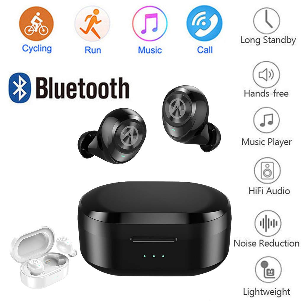 Waterproof Twins Mini Wireless Sport Earbuds, Bluetooth In-ear Stereo Earphones With 500mAh Capacity Charging Box (Black) by YNAA (Image #3)