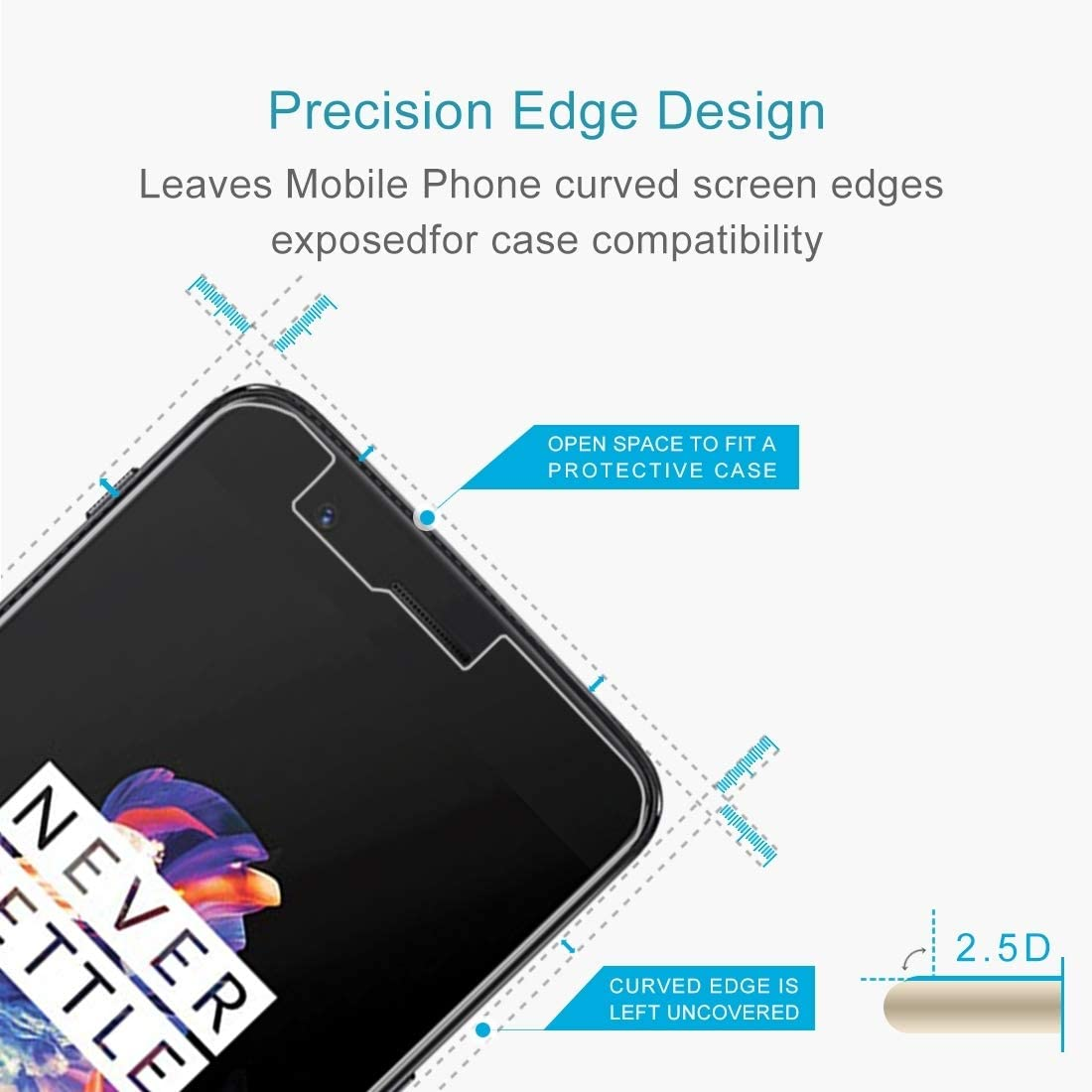CAIFENG Tempered Glass Film Screen Protector XINGHCEN 100 PCS for OnePlus 5 0.3mm 9H Surface Hardness 2.5D Explosion-Proof Non-Full Screen Tempered Glass Screen Film Anti-Scratch