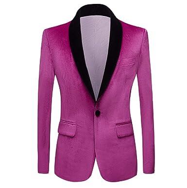XFXFXZXZ Blazer Chaqueta Slim Fit Hombre Verde Púrpura Rosa ...