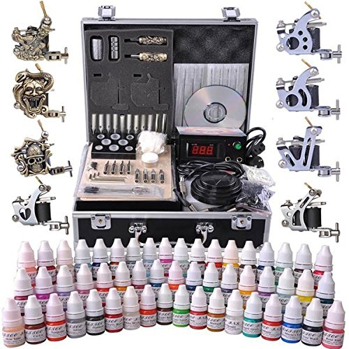 AMPERSAND SHOPS Professional Complete Tattoo Kit with LCD Power Supply and 8 Tattoo Guns, Metal Portable Carrying + 54 Ink Selection by AMPERSAND SHOPS