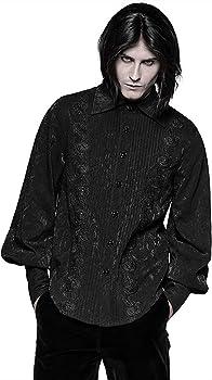 Punk Rave Gótico para Hombre Camisa Negra Brocado Steampunk Vampiro Victoriano Boda - Negro, 3XL: Amazon.es: Ropa y accesorios