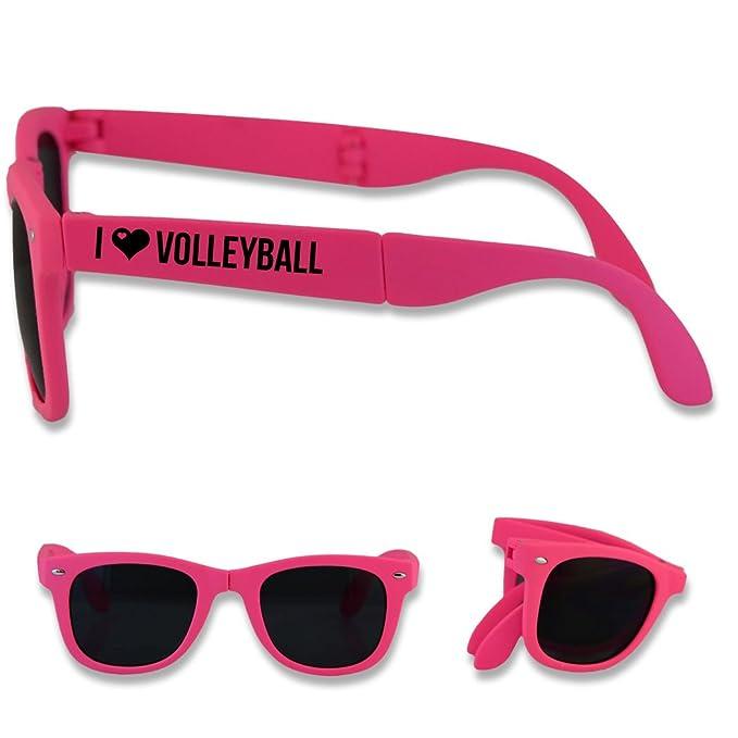 ba449bc53782 Amazon.com  Foldable Volleyball Sunglasses I Heart Volleyball - Pink ...