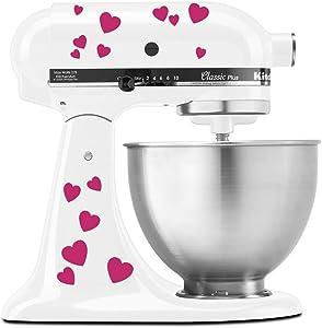 Hearts Bae Valentine Pattern - Vinyl Decal Set for Kitchen Mixers - Hot Pink (Magenta)