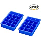 Docik 2-Piece Ice Cube Trays, Premium Food Grade Silicone Candy Cake Chocolate Mold, Amazing 1.3 Inch 15 Cubes, Blue