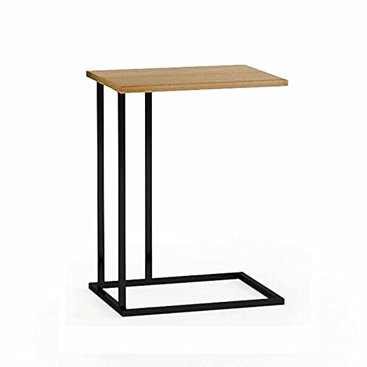 G VO Sofa Side End Table With Modern C Shape Construction Black Steel Frame  And