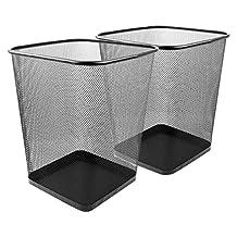 Greenco GRC2616 Mesh Wastebasket Trash Can, Square, 6 gallon, Black, 2 Pack