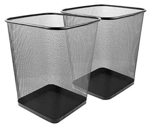 Greenco Mesh Wastebasket Trash Can, Square, 6 Gallon, Black, 2 Pack