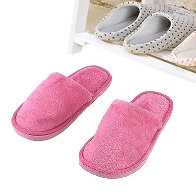 Femmes Hommes Accueil antidérapants Chaussures chaud et doux Cotton House Pantoufles d'intérieur,rouge,39