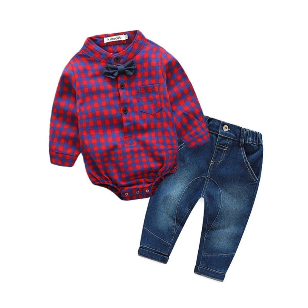Bonjouree Costumes Bébé Garçon Barboteuses Et Pantalon de Jeans de Enfants Garçon 0-24M