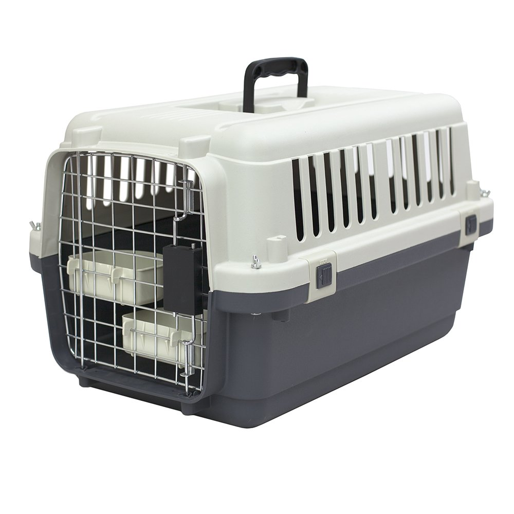SportPet Designs Plastic Kennels Rolling Plastic Airline Approved Wire Door Travel Dog Crate, Small