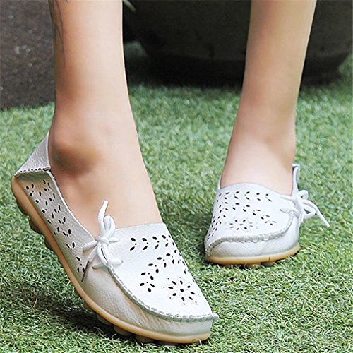 Flat Casual Slippers DADALING on Women's Loafers Indoor Genuine Moccasin Slip Driving White Leather Shoes nng1fzq