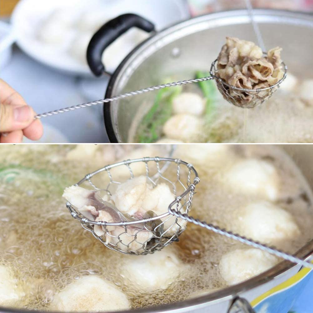 silver Stainless Steel 1 Pack Macabolo Stainless Steel Fondue Strainer Fondue Sieve Kitchen Colander with Long Handle