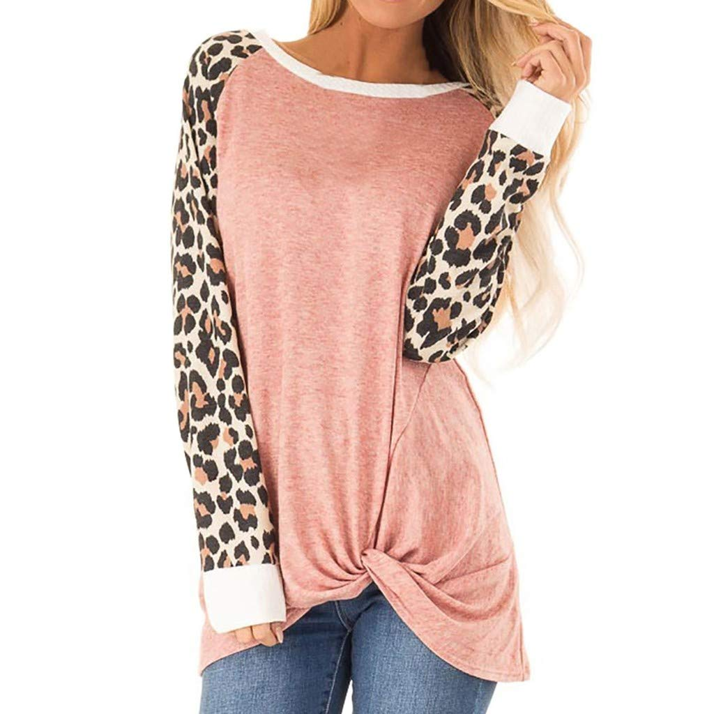 QIUUE Women O-Neck Cotton Sweatshirts Leopard Print Raglan Sleeve Plus Size Tops Tie Bloues Comfy T Shirt Pullovers Pink by QIUUE