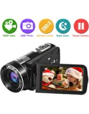 Camcorder Video Camera 1080p Full HD Camcorder Camera 24.0MP 18x Digital Zoom 3.0 Inches LCD 270 Degrees Rotation Screen Vlogging Camera with Remote Control