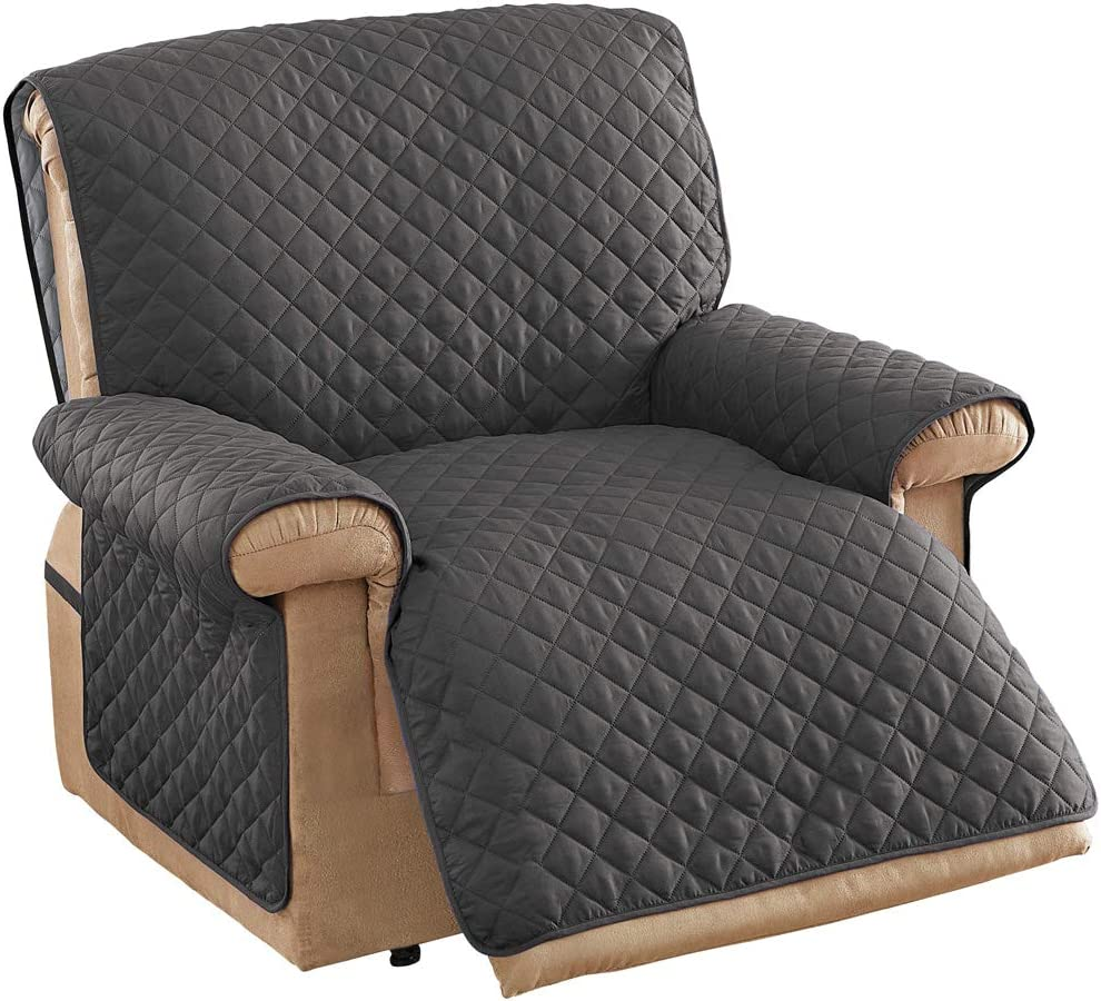 Collections Etc Ultra Reversible Furniture Cover Protector Slate Grey/SILV Jumbo Recliner