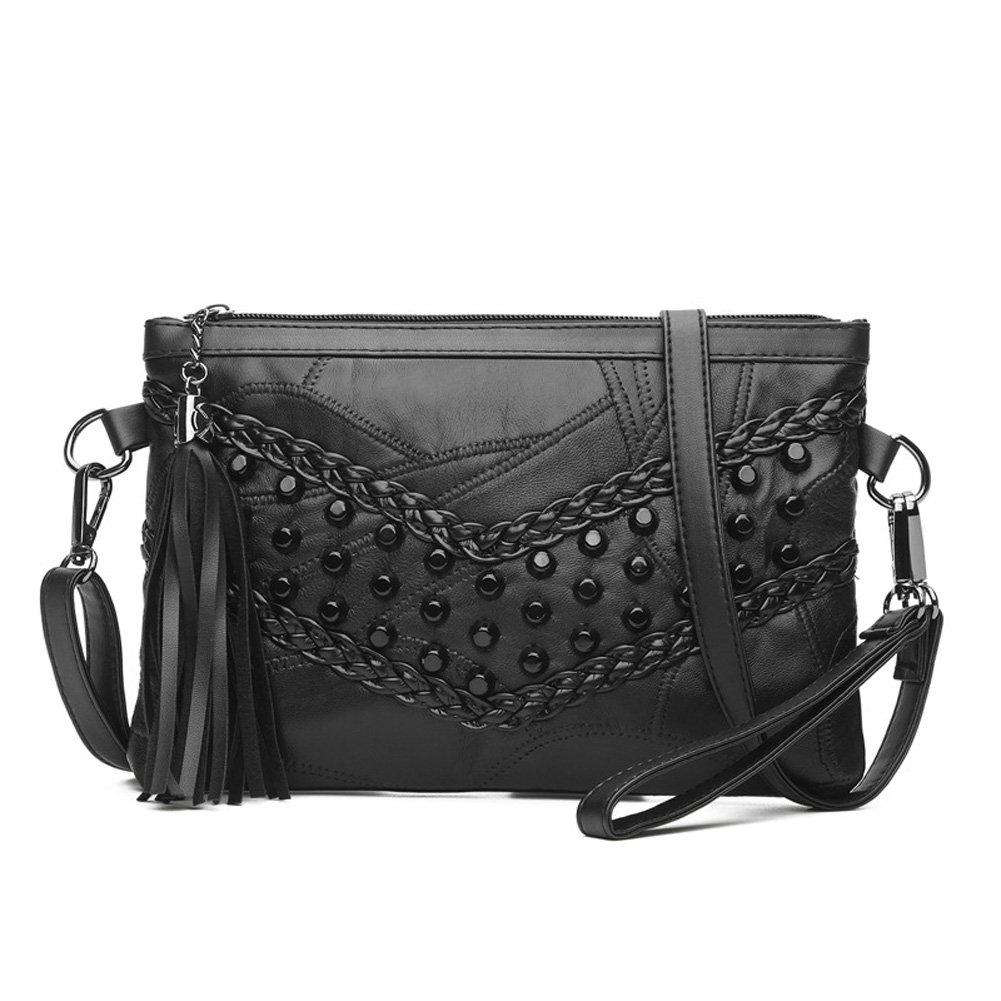 KARRESLY Women's Rivets Studded Shoulder Bag Black Tassel Clutch Bag Cross Body Bags(Black-1)