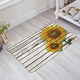 Infinidesign Non Slip Front Door Mat Shoes Scraper Entryway Bathroom Rug Patio Porch Home Decor Exterior Welcome 30''x18'' Sunflower on a Wooden Board