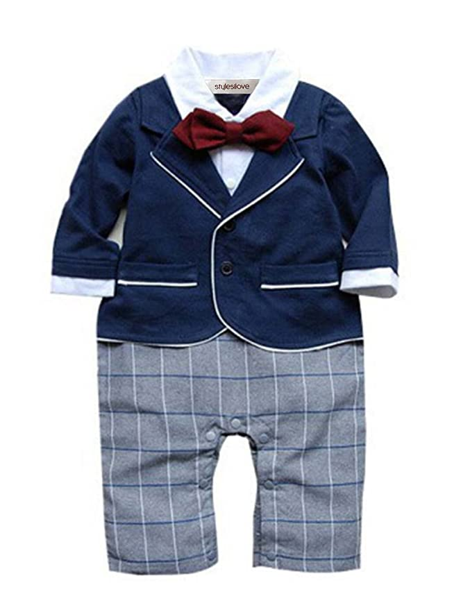 8f3779f36ea4 Amazon.com: stylesilove Newborn Infant Toddler Chic Baby Boy Formal Wear  Romper Overalls Bodysuit: Clothing