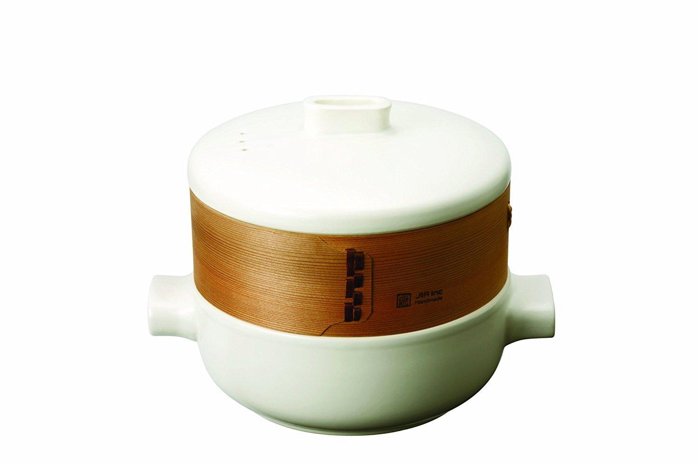 JIA Inc. Steamer Set - Personal Set (Ceramic Steamer Pot and Lid + Cedar Wood Basket)