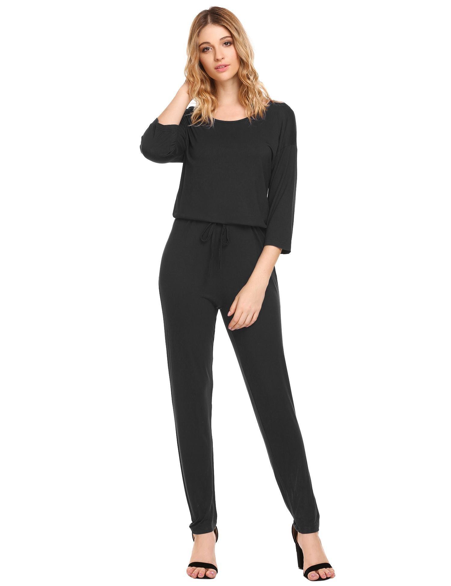 L'amore Women'S Cotton Short Sleeve Pajama Pj Set With Pants (Black,Large)
