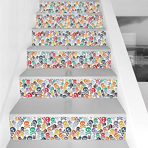 (Stair Stickers Wall Stickers,6 PCS Self-Adhesive,Skulls Decorations,Halloween Theme Colorful Skulls and Crossbones,Stair Riser Decal for Living Room, Hall, Kids Room)