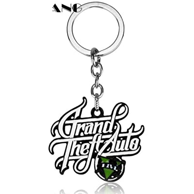 Liz Collection Inspired by Game PS4 GTA V Grand Keychain Theft Auto 5 Keychain PC Rockstar Keyring for Men Boys Gift Jewelry Llavero for Fans (3): Automotive