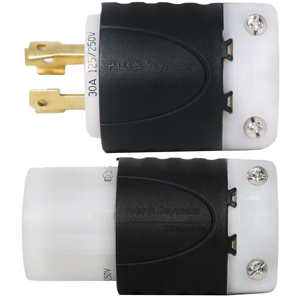 4-Prong for 7500W Generators Iron Box # IBX-L1430PR L14-30R L14-30P L14-30 Generator Plug and Connector Set 125//250V 30A