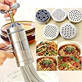 6 PCS With 5 Differ Noodle Moulds Handheld Noodles Maker Stainless Steel Manual Press Machine Noodles Making Kitchen Housemake Cooking