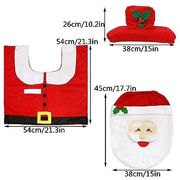 LBZDR decoraciones navideñas Juego de Inodoro de muñeco de Nieve con Lazo Rojo de Navidad,