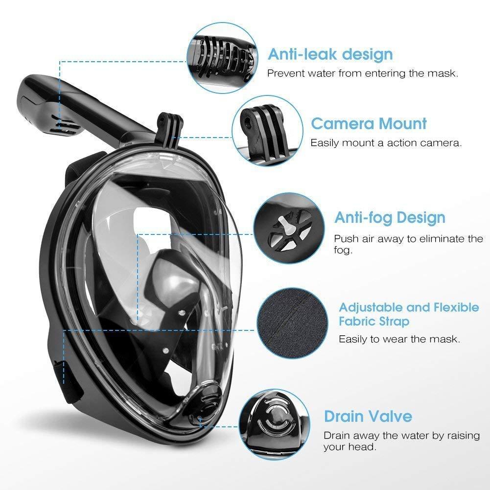 Schnorchelmaske Vollmaske Mit Ohrenst/öpsel Teechaa Tauchmaske Vollgesichtsmaske Mit Anti-Fog Anti-Leck Technologie 180/° Sichtfeld