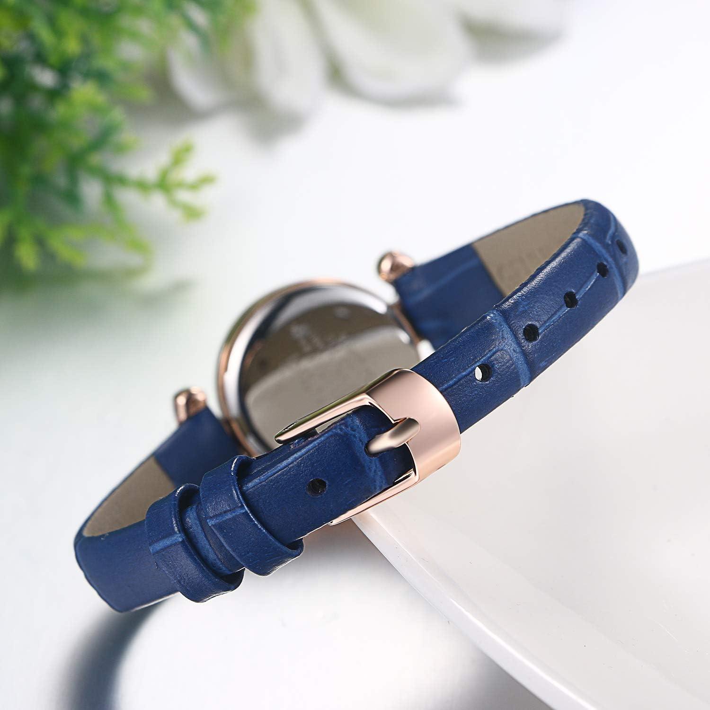 JewelryWe Montre à quartz pour femme Bracelet en cuir PU Cadeau Bleu