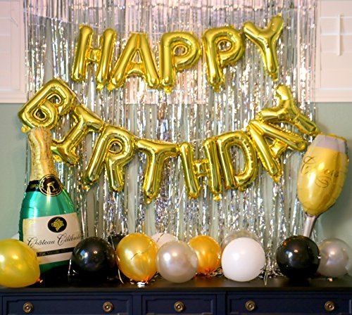Happy Birthday Gold Balloon Set with (2) Silver Metallic Tinsel Backdrops, Champagne Bottle & Glass. Perfect Birthday Party Decorations & Supplies 21st, 30th, 40th, 50th. by -