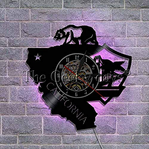 The Geeky Days California Bear Cali Life Vinyl Record Wall Clock California Republic State Bear Flag Vintage Style Wall Watch(with LED) ()