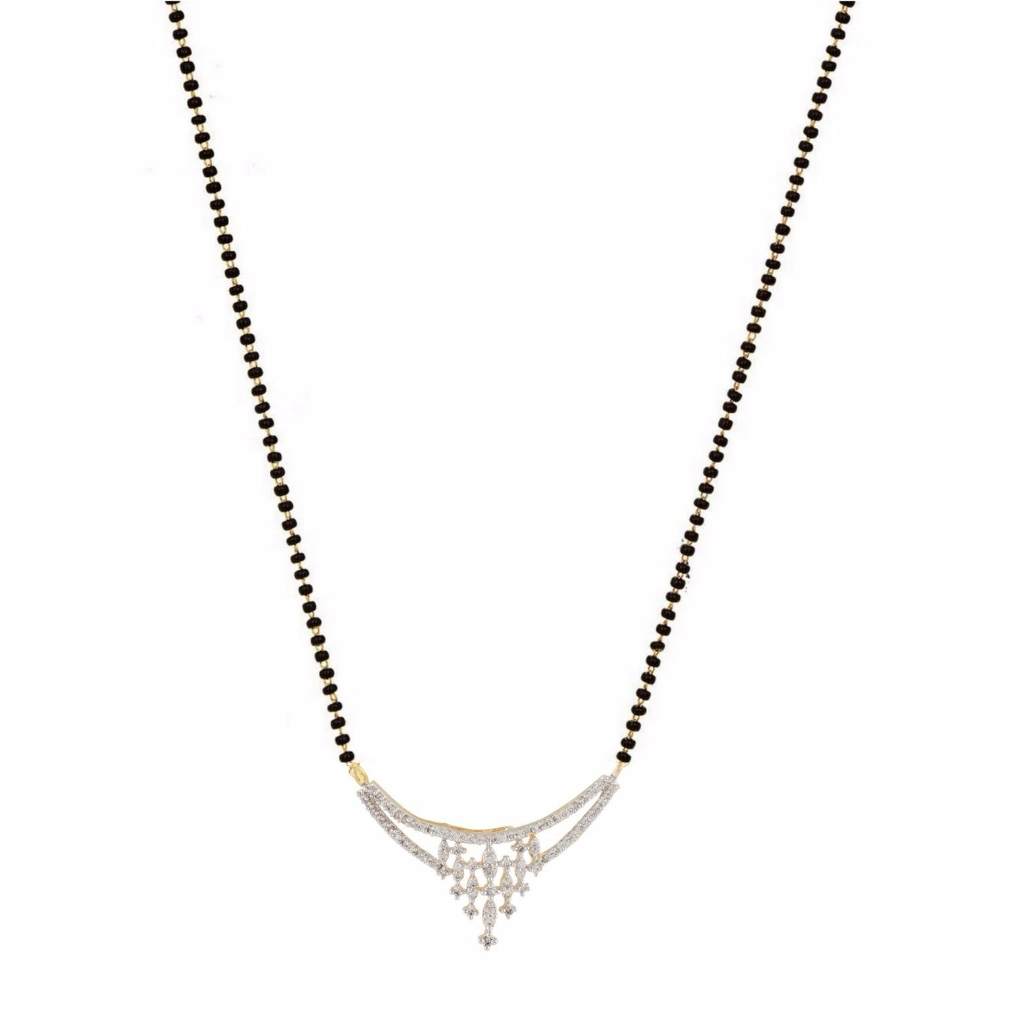 Efulgenz Indian Bollywood Traditional Gold Plated American Diamond CZ Mangalsutra Pendant Necklace Jewelry for Women by Efulgenz (Image #1)
