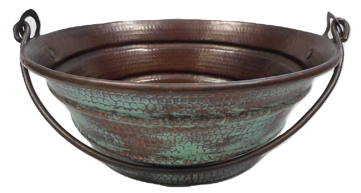 15 Round Copper Vessel BUCKET Bathroom Sink with Green Patina Exterior