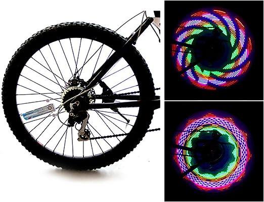 Whiie891203 Colorido 32-LED Bike Light 32 Patrón Rueda De Neumático De Bicicleta Radiante Lámpara Decorativa Más Brillante Y Visible Desde Todos Los ángulos para Un Estilo De Seguridad Luz Colorida: Amazon.es: Hogar