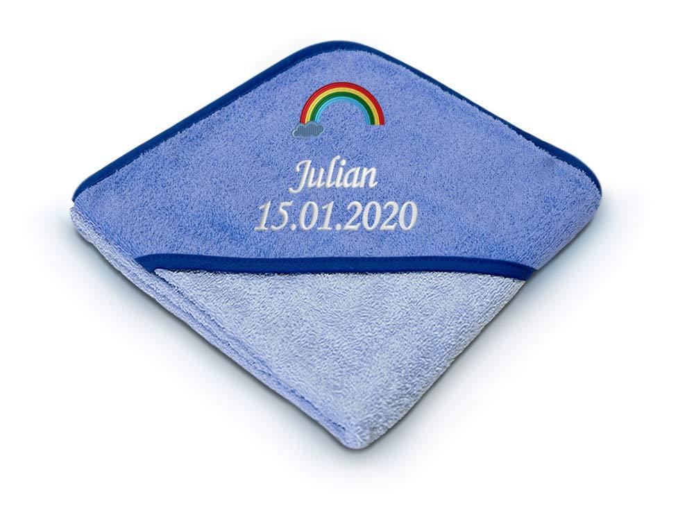 80x80 cm blau personalisiertes Geschenk Babyhandtuch Kapuzenbadetuch mit Stickerei 100/% Baumwolle Baby Kapuzenhandtuch mit Namen und Geburtsdatum bestickt