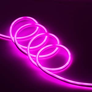 110V 150'ft Flexible LED Neon Rope Light Party Store Home Garden Decor Indoor/Outdoor Soft Tube Lighting Strips Bright Commercial (Sexy Pink)
